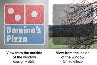 Perforated Window Stickers - Printed on gloss white perforated window vinyl | www.stickersinternational.co.uk